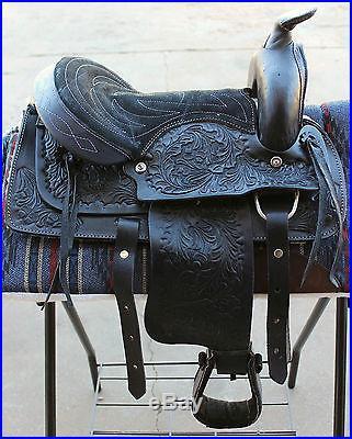 10 BLACK/Floral Kids Pony Western New Saddle Youth Child Riding Trail Saddle
