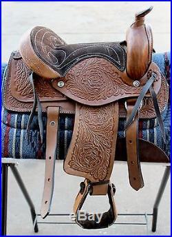 10 Brown Kids Western Mini Pony Saddle -Leather Miniature Horse Saddle