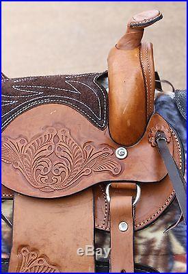 10 Brown Round Skirt Kids Pony Western New Saddle Child Riding Trail Saddle