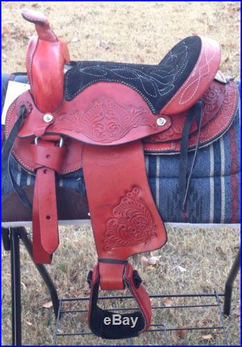 10 Burgundy Round Skirt Kids Pony Western Saddle-Child Saddle-FREE CINCH