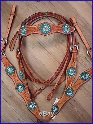 10 Leather SHOW Saddle Kid Pony Mini Western Saddle Trail Turquoise Alligator