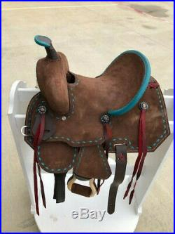 10 New Western Leather Youth Child Horse Pony Ranch Buck Stiched Saddle