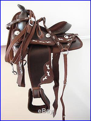 12 13 Running pony Brown Western Trail Kid Youth SYNTHETIC SADDLE Headstall BP