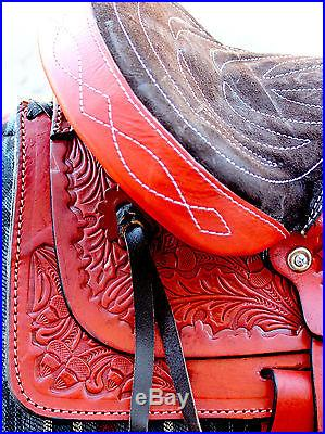 12 Burgundy Kids Pony Western New Saddle Youth Child Riding Trail Saddle