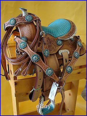 12 Leather SHOW Saddle Kid Pony Mini Western Saddle Trail Turquoise Alligator