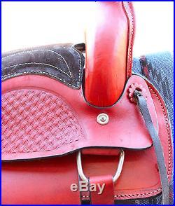 12 Youth Pleasure Leather Saddle Western Pony Kids Saddle FREE SHIPPING