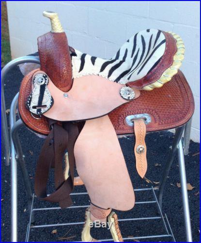 12 Zebra barrel racing saddle plus headstall