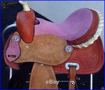 13 Barrel Youth Saddle Pink + Headstall And Breast Collar Reins