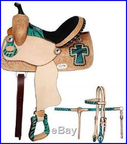 13 Double T Barrel Racing Saddle with TEAL Zebra Print and Matching Tack