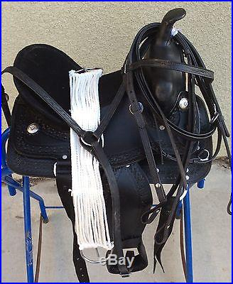 13 NEW BLACK LEATHER WESTERN PLEASURE AND TRAIL SADDLE PACKAGE