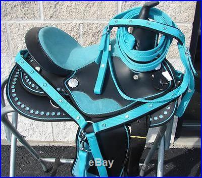 13 Oil Black/Teal Bling Crystal Kid PONY MINI Western Trail Show Saddle Pkg WOW