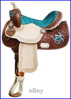 13 Teal Double T Youth Pony Saddle w Hair-on Zebra Print Seat & Accents