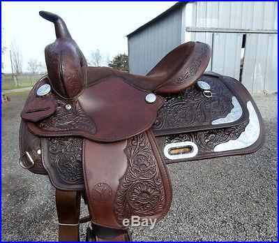 13 in. Circle Y Youth Horse Show Saddle Silver Corner Plates Amazing Condition