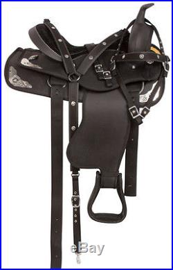 14 15 16 17 18 Black Show Silver Synthetic Western Trail Horse Saddle Tack Pad