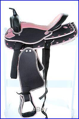14 15 16 17 18 Western Synthetic Cordura Trail Horse Saddle Black Pink Tack