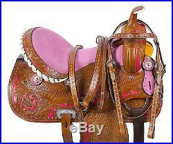 14 15 16 PINK WESTERN HORSE BARREL RACER LEATHER PLEASURE TRAIL SHOW SADDLE TACK