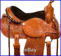 14 15 16 Western Barrel Racing Pleasure Trail Horse Show Leather Saddle Tack Set