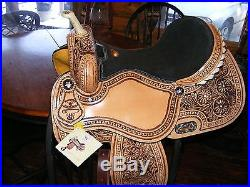 14 15 DOUBLE T BARREL SADDLE FLORAL TOOLING RHINESONES FULL QH BARS