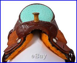 14 BLUE LEATHER WESTERN BARREL RACER RACING TRAIL SHOW HORSE SADDLE TACK NEW