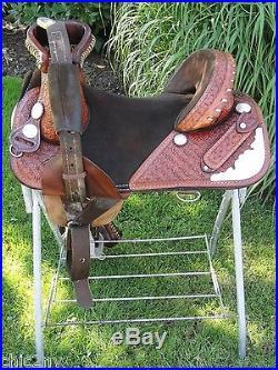 14 Original BOB MARSHALL Treeless Western Horse Barrel Saddle w Silver Trim