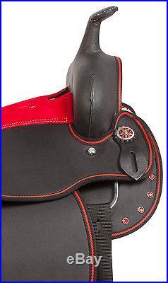 14 Red Crystal Cordura Pleasure Trail Western Horse Saddle Tack Set Pad