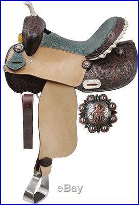 14 Teal Alligator Barrel Saddle. Great All-Around Western Horse Tack