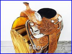 14 WESTERN COWBOY SILVER LEATHER TRAIL TOOLED PARADE SHOW HORSE SADDLE TACK