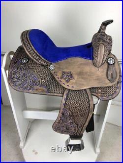14 Western Leather Barrel Pleasure Trail Black Purple Horse Saddle Set Tack