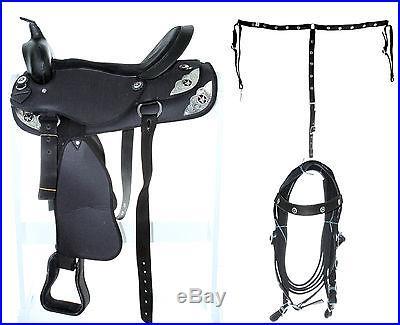 15 16 17 18 New Synthetic Pleasure Trail Horse Black Show Saddle Tack Bridle
