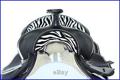 15 16 17 Western Synthetic Cordura Pleasure Trail Horse Saddle Zebra Tack Bridle