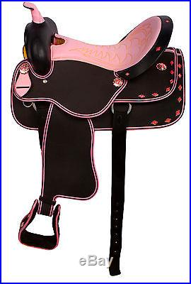 15 16 17 Western Synthetic Cordura Trail Show Horse Saddle Tack Pink Texas Star