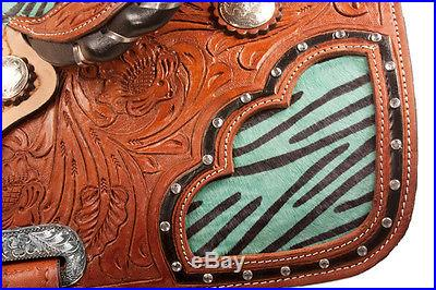 15 16 17 Western Turquoise Barrel Saddle Racing Horse Leather Show Tack Trail