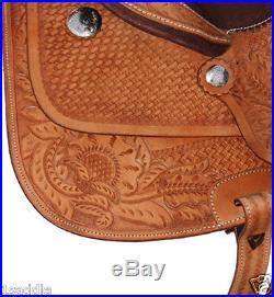 15 16 18 Western Brown Barrel Saddle Racing Horse Leather Tack Pleasure Trail