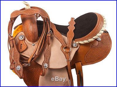 15 16 Custom Barrel Racer Racing Trail Show Western Horse Leather Saddle Tack