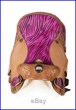 15 16 Custom Pink Zebra Western Barrel Racing Show Horse Leather Saddle Tack