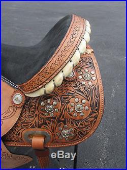 15 16 Silver Show Barrel Racing Pleasure Tooled Leather Western Horse Saddle