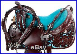 15 16 TURQUOISE BLUE WESTERN BARREL RACER RACING LEATHER TRAIL SHOW SADDLE TACK