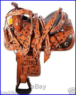 15 16 WESTERN BARREL RACER RACING SHOW PLEASURE TRAIL LEATHER SADDLE CARVED TACK