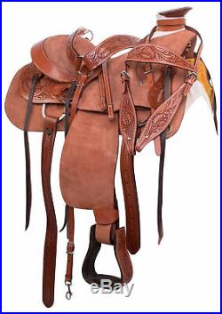 15 16 Western Roping Ranch Trail Wade Tree Rough Out Leather