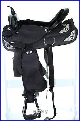15 16 Western Synthetic Cordura Pleasure Trail Horse Saddle Black Show Tack