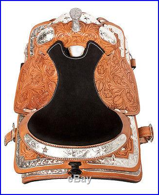 15 17 ROYAL SHOW PARADE WESTERN HORSE LEATHER SADDLE LOTS UNIQUE SILVER