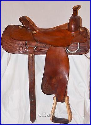 15.5 BILLY COOK Roping Roper Saddle handmade Sulpher OK All Around Model 8944