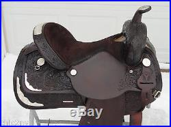 15 CIRCLE Y Dark Oil Western EQUITATION Show Horse Saddle w Silver Exc Cond
