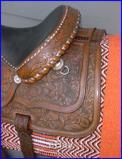 15 CIRCLE Y Fully Tooled Buckstitched with Silver Show Pleasure Equitation Saddle