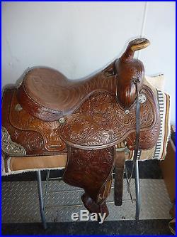 15 HEREFORD Tex Tan Western Pleasure Saddle/ FILIGREE SILVER
