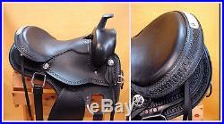 15 OR 16 Western Black Leather Endurance Gaited Round Skirt Saddle Silver Trim