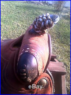 15 RED ROUGHOUT WESTERN HORSE SADDLE for TRAIL RIDING or BARREL RACING