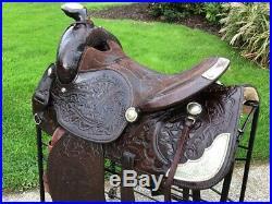 15 Simco #5567 Dark Oil Tooled Western Horse Saddle w Silver Trim & Smart Cinch