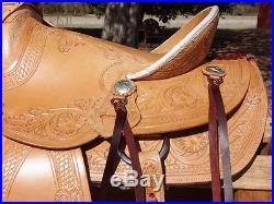 15 TOOLED RAWHIDE WADE RANCH LEATHER COWBOY WESTERN HORSE ROPING ROPER SADDLE