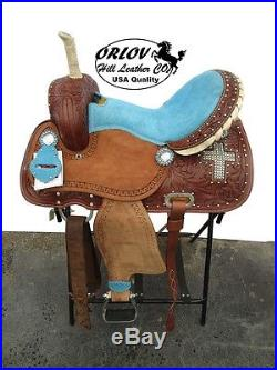 15 TURQUOISE BLUE CROSS STONE ROUGHOUT LEATHER BARREL RACER HORSE WESTERN SADDLE